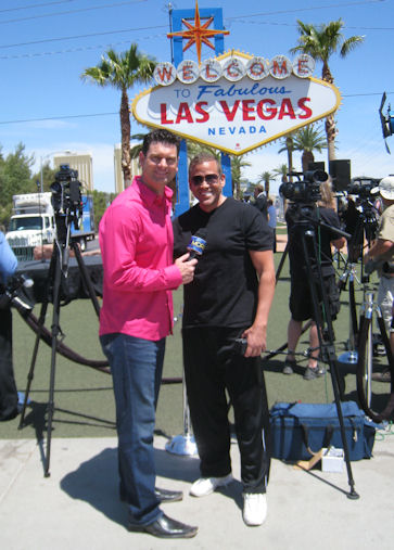Gig Schmidt with Fox 5 More TV Show Anchor Arran Andersen at Ne-Yo's Boys and Girls Club of America Billboard Unveiling May 20, 2010