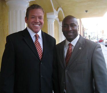 Gig Schmidt and Councilman Ricki Y Barlow, Downtown Ribbon Cuttin, Sept 29, 2010