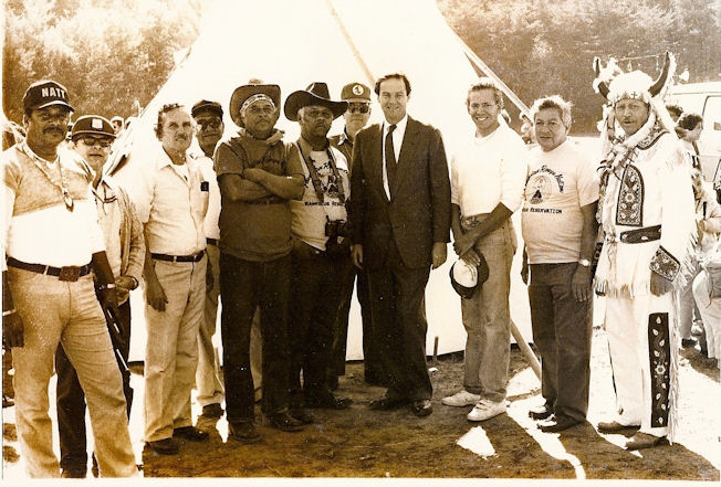 Gig Schmidt, his father and council members with New Jersey Governor Tom Kean at Reservation, 1980's