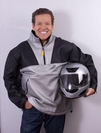 Gig Schmidt, motorcycle jacket and helmet, February 21, 2015