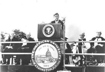John F. Kennedy at American University, 1963