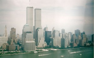 July 4 2001 weekend World Trade Center buildings 2 months prior to demise taken from helicopter