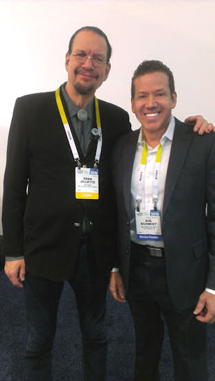 Penn Jillette and Gig Schmidt, CES 2016, Sands Expo, January 6, 2016