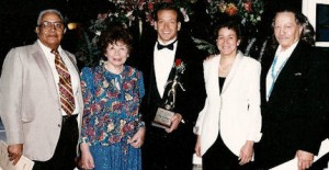 Gig Schmidt, 1995 Southern New Jersey Soccer Hall of Fame Induction Ceremony, Family with Trophy, The Woodbine Inn, Pennsauken, NJ, Nov 19, 1995