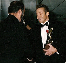 Gig Schmidt, 1995 Southern New Jersey Soccer Hall of Fame Induction Ceremony, Trophy Presentation, The Woodbine Inn, Pennsauken, NJ, Nov 19, 1995