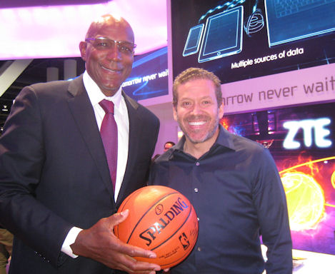 Gig Schmidt and Clyde Drexler, CES 2015, Las Vegas Convention Center, January 6, 2015