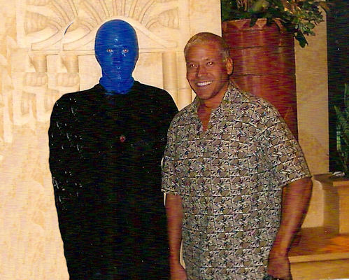 Gig Schmidt with Blue Man Group cast member after show, Luxor Hotel, Las Vegas, Nevada, 2002 or 2003 -2