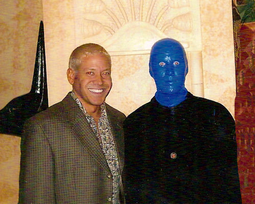 Gig Schmidt with Blue Man Group cast member after show, Luxor Hotel, Las Vegas, Nevada, 2002 or 2003