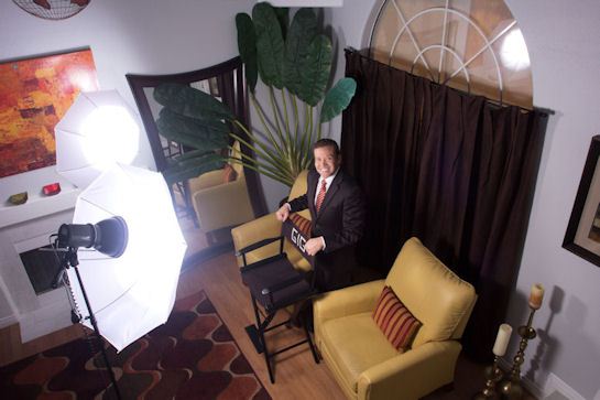 Gig Schmidt, Overlooking photo shoot with lights, February 21, 2015