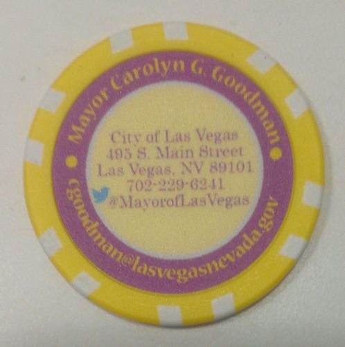 Actor gig schmidt las vegas mayor carolyn goodman business card poker chip caesars palace oct 7 reheart Gallery
