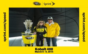 Gig Schmidt, Miss Sprint Cup Kim Coon and NASCAR Sprint Cup Trophy March 6, 2014