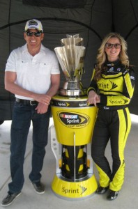 Gig Schmidt, Miss Sprint Cup Kim Coon and Sprint Cup Trophy, Las Vegas Motor Speedway, March 6, 2014