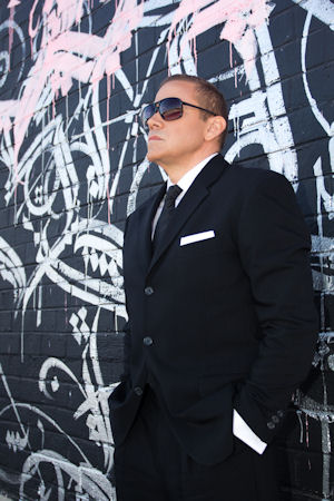 Gig Schmidt, photo shoot, downtown Las Vegas, sunglasses, November 11, 2014